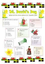 English Worksheet: ST. DAVID�S DAY - 1st MARCH - Patron Saint of Wales