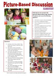 English Worksheet: Picture-based discussion Elementary - (03) Family occasions, holidays