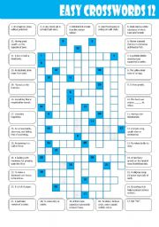 English Worksheets: Easy Crosswords: 12