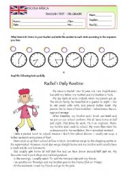 English Worksheet: Test on Daily Routine Version B Part 1