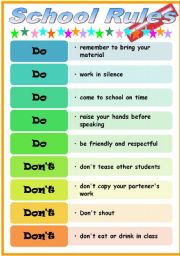English Worksheet: Editable school rules for School Open day