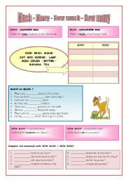 English Worksheets: MANY - MUCH - HOW MANY - HOW MUCH