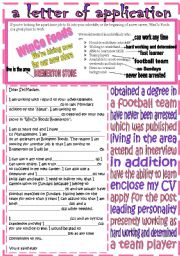 English Worksheet: a letter of application