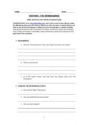 English worksheets: THE RENAISSANCE