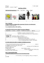 English Worksheet: Lesson 4, Module 3,  8thgr. Sporting Activities