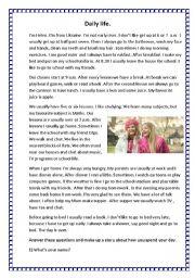 English Worksheet: Daily life