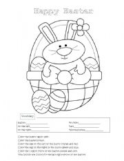 English Worksheet: Easter Bunny Coloring
