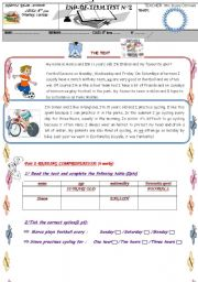 English Worksheet: Full term test  N�2 (Tunisian curricular)