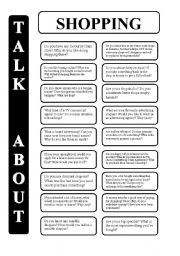 English Worksheet: Shopping - 18 conversation cards - upper-intermediate level (editable)