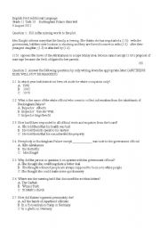 English Worksheet: Buckingham Palace District Six  Examination questions