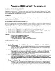 English worksheets: Annotated Bibliography