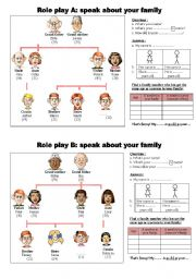 English Worksheet: Role play : speak about your family to discover similarities  **editable & answers**