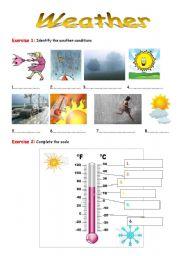 English Worksheet: Weather Vocabulary Exercises + KE Y