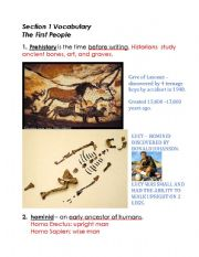 English Worksheet: Prehistory Vocabulary Words