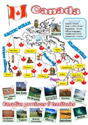 English Worksheet: A map of Canada