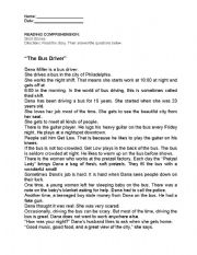 English Worksheets: The Bus Driver
