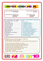 English Worksheets: Neither, Either, Nor & So