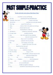 English worksheet: Past Simple 50 sentences to practise , 2 pages