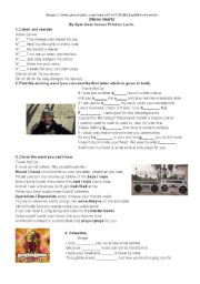 English Worksheets: STEREO HEARTS Gym Class Heroes Adam Levine