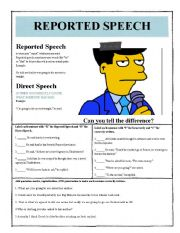 English Worksheet: Reported / Direct Speech