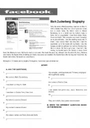English Worksheets: MARK ZUCKERBERG BIOGRAPHY