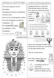English Worksheets: Hierogliphics - mummification - cats