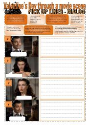 English Worksheet: VALENTINE´S DAY THROUGH A MOVIE´S SCENE - GONE with the WIND - A writing DIALOG based in Pictures and PICK UP LINES (5 pages) + WRITING exercises