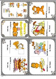 English Worksheet: Preposition mini-book with Garfield