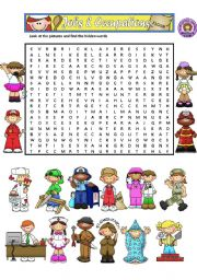 English Worksheet: JOBS - WORDSEARCH