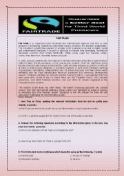 Fair Trade (reading comprehension, vocabulary and grammar exercises and writing task, KEY included)