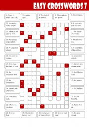 English Worksheets: Easy Crosswords 7