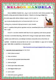 NESLSON MANDEL´S BIOGRAPHY FOR KIDS - ESL worksheet by