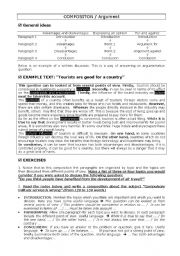 English Worksheet: Writing a composition. Argument