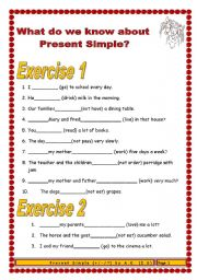 English worksheet: 8 pages/13 exercises (132 sentences) Final material on Present Simple for beginners