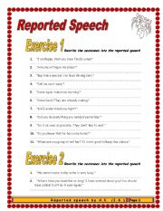 English Worksheet: 8 pages/10 exercises/125 sentences REPORTED SPEECH
