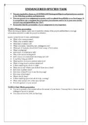 English Worksheets: Australian Endangered animals project