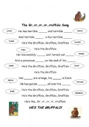 English Worksheet: The Gruffalo Song worksheet