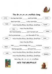 English Worksheets: The Gruffalo Song worksheet