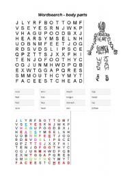English Worksheets: Word search - body parts