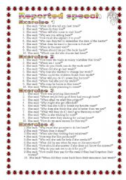English Worksheet: Grammar from A to Z Reported Speech (14-25)