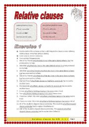 English Worksheet: 2 pages 38 sentences Relative Clause