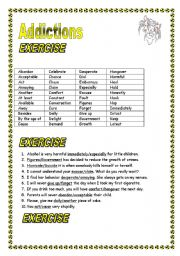 English Worksheet: Addictions New vocabulary + FCE type exercise (multiply choice) KEY included