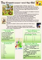 English Worksheet: Reading-comprehension with moral. THE GRASSHOPPER AND THE ANT.