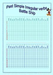 English worksheet: PAST SIMPLE IRREGULAR VERBS BATTLE SHIP GAME