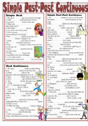 English Worksheet: Simple Past-Past Continuous