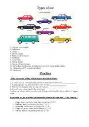 English Worksheets: Types of car