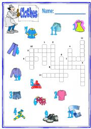 English Worksheet: crossword clothes