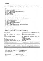 English Worksheet: Television - advantages and disadvantages