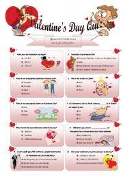 English Worksheet: Valentine´s Day Quiz