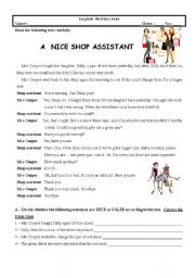 English Worksheet: Test (7th Grade) A Nice Shop Assistant